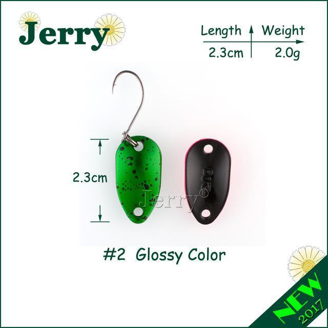 Jerry 1Pc 2G 3.5G 4.5G Fishing Spoon Lure Mini Two-Side Painting Glossy Color-Jerry Fishing Tackle-2g green-Bargain Bait Box