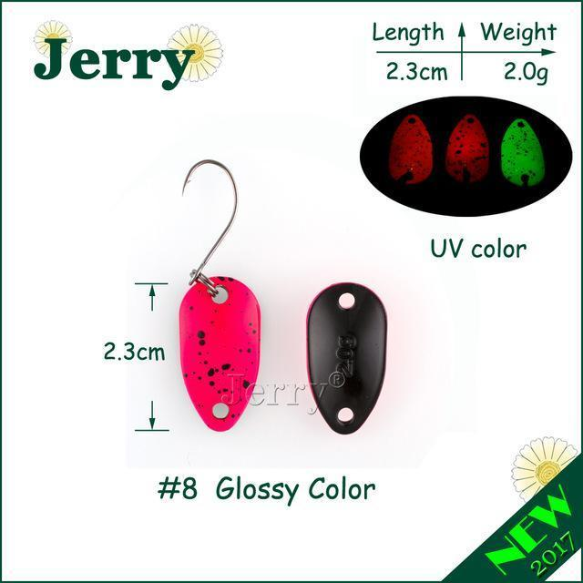 Jerry 1Pc 2G 3.5G 4.5G Fishing Spoon Lure Mini Two-Side Painting Glossy Color-Jerry Fishing Tackle-2g hot pink-Bargain Bait Box