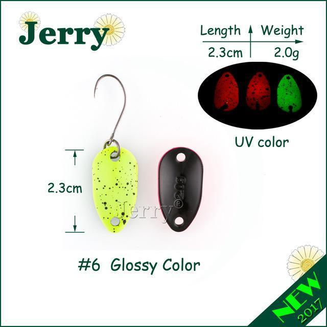 Jerry 1Pc 2G 3.5G 4.5G Fishing Spoon Lure Mini Two-Side Painting Glossy Color-Jerry Fishing Tackle-2g lemon yellow-Bargain Bait Box