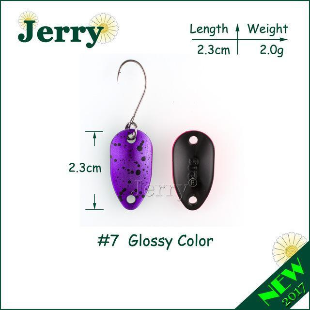 Jerry 1Pc 2G 3.5G 4.5G Fishing Spoon Lure Mini Two-Side Painting Glossy Color-Jerry Fishing Tackle-2g purple-Bargain Bait Box