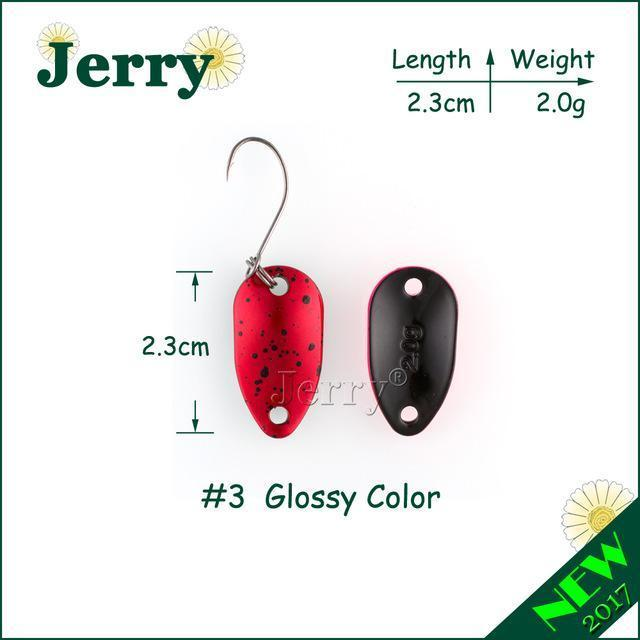 Jerry 1Pc 2G 3.5G 4.5G Fishing Spoon Lure Mini Two-Side Painting Glossy Color-Jerry Fishing Tackle-2g red-Bargain Bait Box