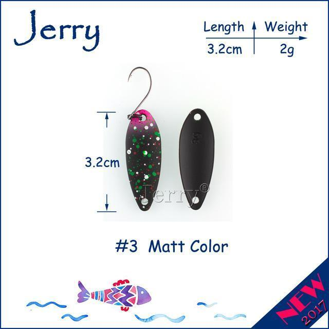 Jerry 1Pc 2G 3G 4.5G Trout Fishing Spoons Metal Lures Spinner Bait Fishing Lures-Jerry Fishing Tackle-2g Black pink-Bargain Bait Box