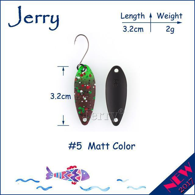 Jerry 1Pc 2G 3G 4.5G Trout Fishing Spoons Metal Lures Spinner Bait Fishing Lures-Jerry Fishing Tackle-2g Brown green-Bargain Bait Box