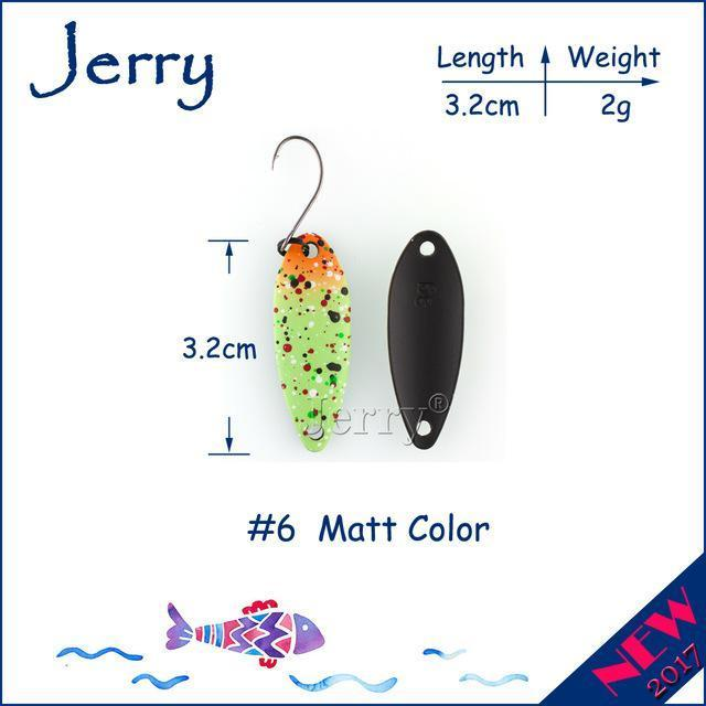 Jerry 1Pc 2G 3G 4.5G Trout Fishing Spoons Metal Lures Spinner Bait Fishing Lures-Jerry Fishing Tackle-2g Green orange-Bargain Bait Box