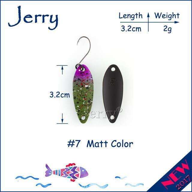 Jerry 1Pc 2G 3G 4.5G Trout Fishing Spoons Metal Lures Spinner Bait Fishing Lures-Jerry Fishing Tackle-2g Green purple-Bargain Bait Box