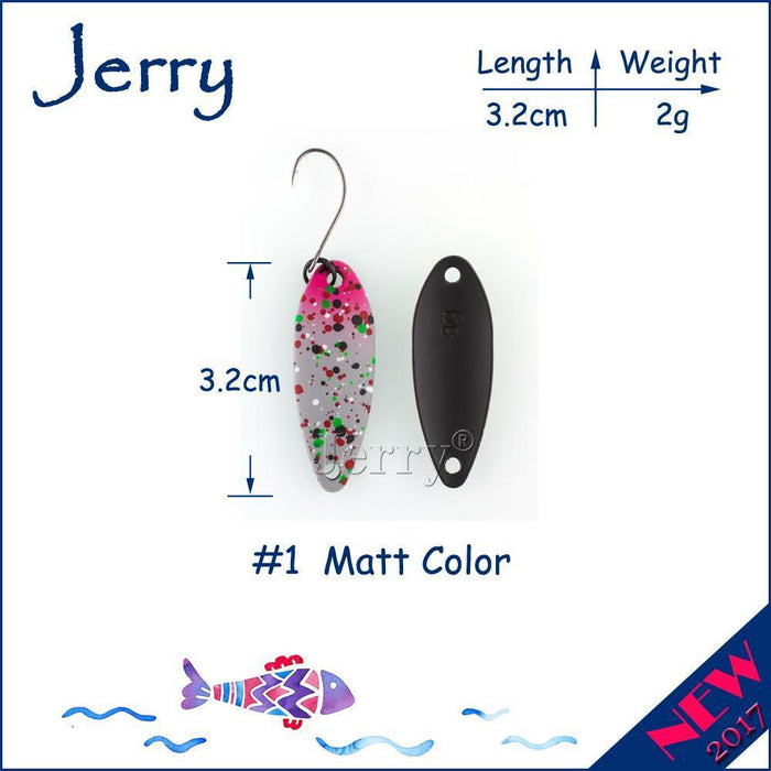 Jerry 1Pc 2G 3G 4.5G Trout Fishing Spoons Metal Lures Spinner Bait Fishing Lures-Jerry Fishing Tackle-2g Grey pink-Bargain Bait Box