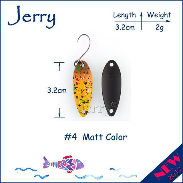 Jerry 1Pc 2G 3G 4.5G Trout Fishing Spoons Metal Lures Spinner Bait Fishing Lures-Jerry Fishing Tackle-2g Yellow brown-Bargain Bait Box