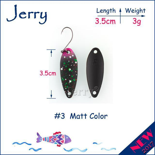 Jerry 1Pc 2G 3G 4.5G Trout Fishing Spoons Metal Lures Spinner Bait Fishing Lures-Jerry Fishing Tackle-3g Black pink-Bargain Bait Box