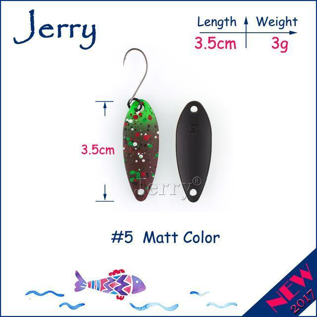 Jerry 1Pc 2G 3G 4.5G Trout Fishing Spoons Metal Lures Spinner Bait Fishing Lures-Jerry Fishing Tackle-3g Brown green-Bargain Bait Box