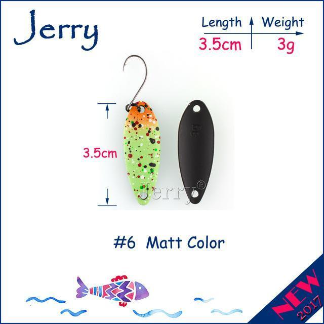 Jerry 1Pc 2G 3G 4.5G Trout Fishing Spoons Metal Lures Spinner Bait Fishing Lures-Jerry Fishing Tackle-3g Green orange-Bargain Bait Box