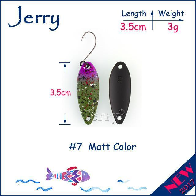 Jerry 1Pc 2G 3G 4.5G Trout Fishing Spoons Metal Lures Spinner Bait Fishing Lures-Jerry Fishing Tackle-3g Green purple-Bargain Bait Box