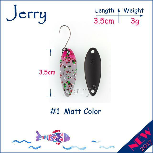 Jerry 1Pc 2G 3G 4.5G Trout Fishing Spoons Metal Lures Spinner Bait Fishing Lures-Jerry Fishing Tackle-3g Grey pink-Bargain Bait Box
