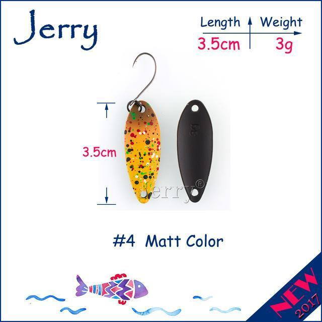 Jerry 1Pc 2G 3G 4.5G Trout Fishing Spoons Metal Lures Spinner Bait Fishing Lures-Jerry Fishing Tackle-3g Yellow brown-Bargain Bait Box