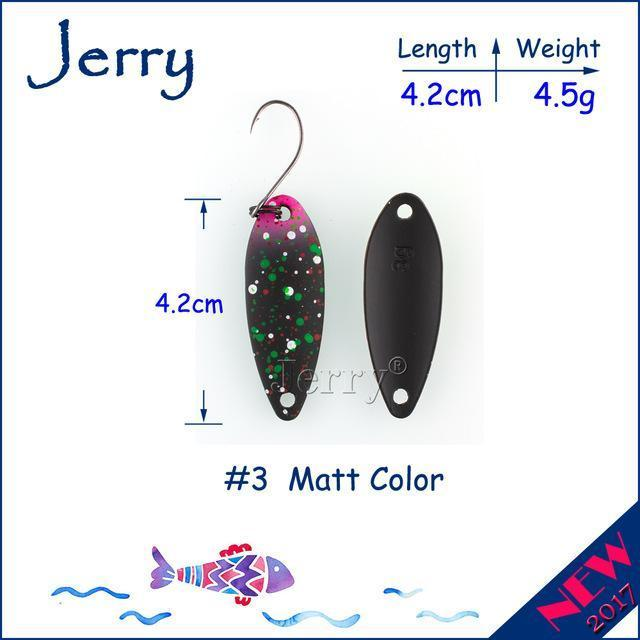 Jerry 1Pc 2G 3G 4.5G Trout Fishing Spoons Metal Lures Spinner Bait Fishing Lures-Jerry Fishing Tackle-4g Black pink-Bargain Bait Box