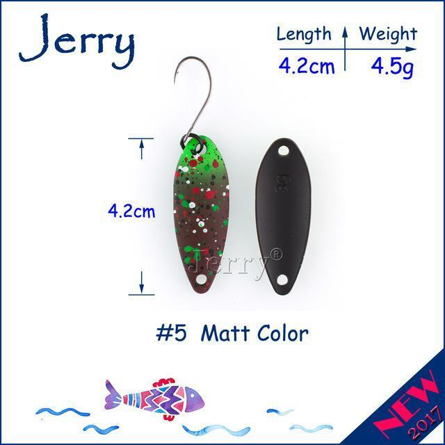 Jerry 1Pc 2G 3G 4.5G Trout Fishing Spoons Metal Lures Spinner Bait Fishing Lures-Jerry Fishing Tackle-4g Brown green-Bargain Bait Box