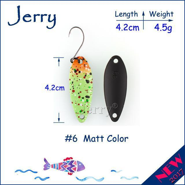 Jerry 1Pc 2G 3G 4.5G Trout Fishing Spoons Metal Lures Spinner Bait Fishing Lures-Jerry Fishing Tackle-4g Green orange-Bargain Bait Box