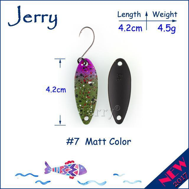 Jerry 1Pc 2G 3G 4.5G Trout Fishing Spoons Metal Lures Spinner Bait Fishing Lures-Jerry Fishing Tackle-4g Green purple-Bargain Bait Box