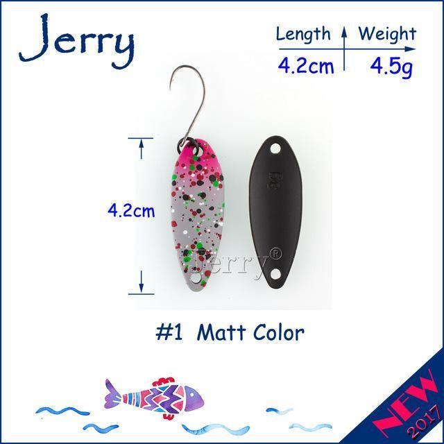 Jerry 1Pc 2G 3G 4.5G Trout Fishing Spoons Metal Lures Spinner Bait Fishing Lures-Jerry Fishing Tackle-4g Grey pink-Bargain Bait Box