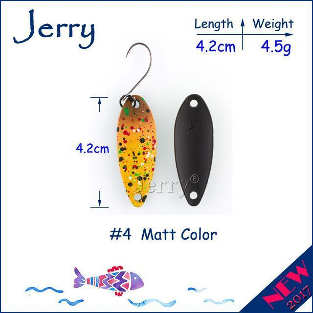 Jerry 1Pc 2G 3G 4.5G Trout Fishing Spoons Metal Lures Spinner Bait Fishing Lures-Jerry Fishing Tackle-4g Yellow brown-Bargain Bait Box