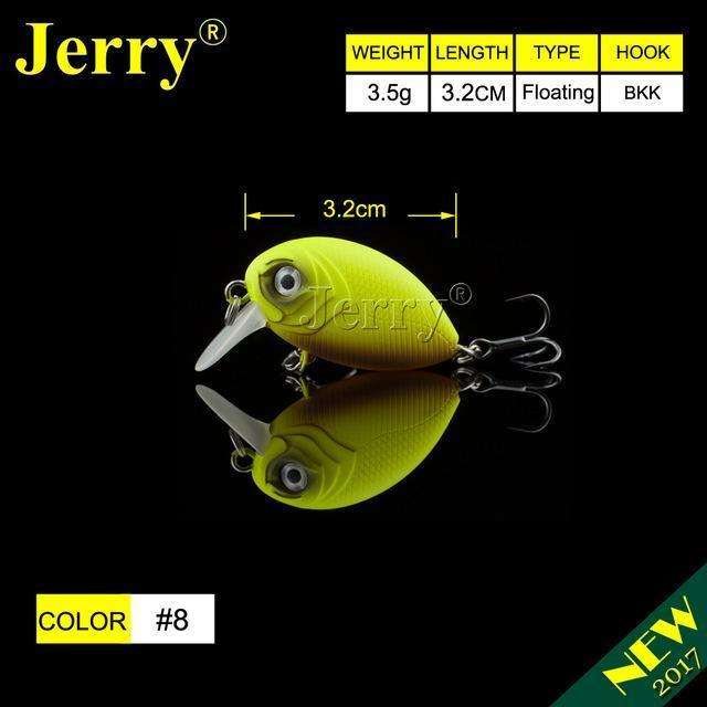 Jerry 1Pc 32Mm Ultralight Fishing Lures Micro Wobble Lures Trout Fishing Lures-Jerry Fishing Tackle-Yellow brown-Bargain Bait Box