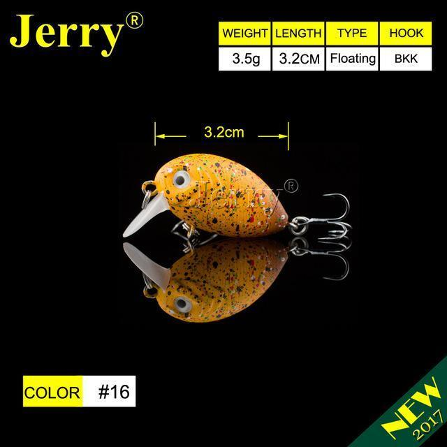 Jerry 1Pc 32Mm Ultralight Fishing Lures Micro Wobble Lures Trout Fishing Lures-Jerry Fishing Tackle-Yellow brown dots-Bargain Bait Box
