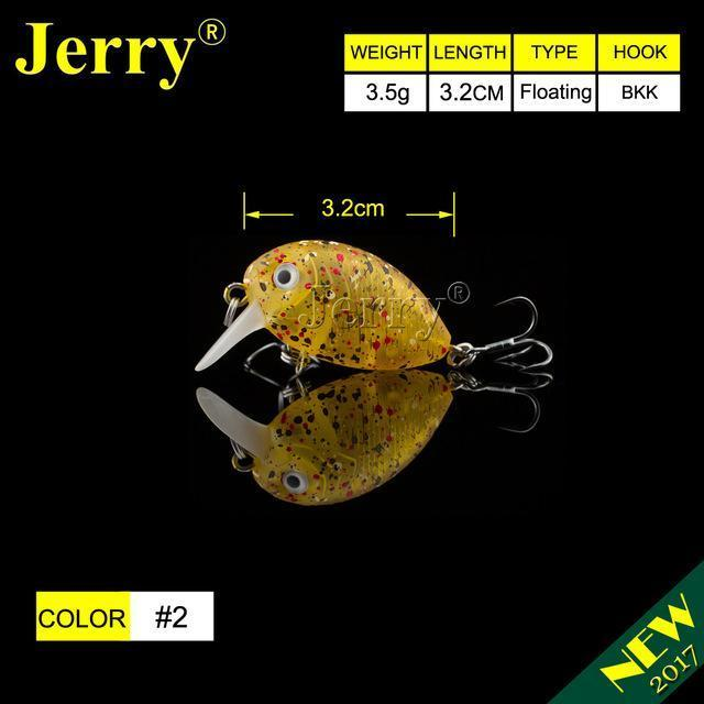 Jerry 1Pc 32Mm Ultralight Fishing Lures Micro Wobble Lures Trout Fishing Lures-Jerry Fishing Tackle-Yellow with spots-Bargain Bait Box