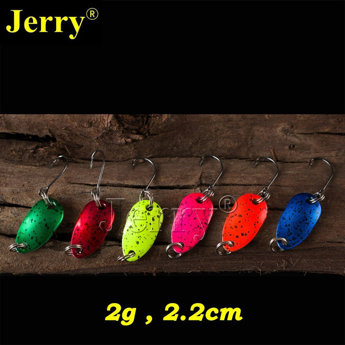 Jerry 6Pcs 2G Pesca Micro Mini Trout Spoon Lures Ultralight River Fishing Spoons-Jerry Fishing Tackle-Black spots-Bargain Bait Box