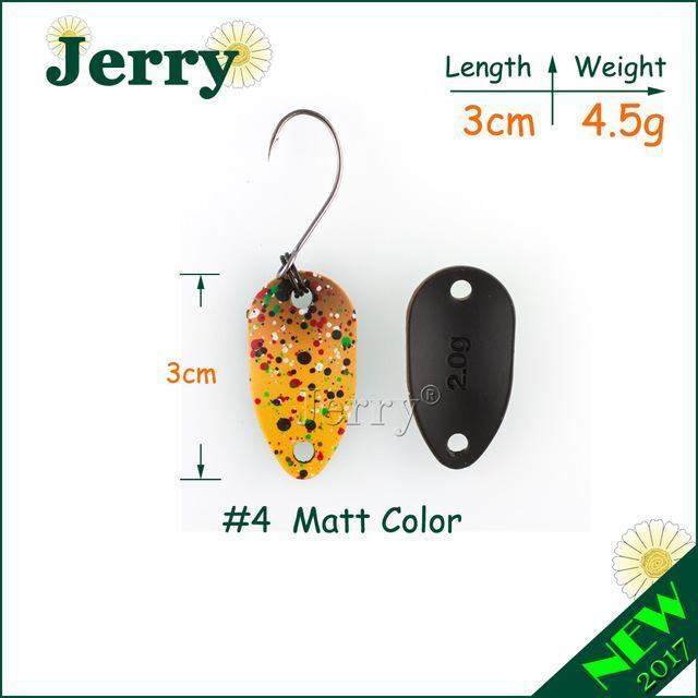 Jerry Pesca Two Side Colors Micro Fishing Spoons Trout Spoon Wobbler Fishing-Jerry Fishing Tackle-2g black pink-Bargain Bait Box