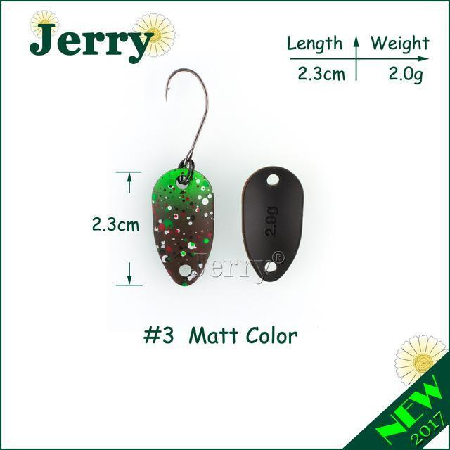 Jerry Pesca Two Side Colors Micro Fishing Spoons Trout Spoon Wobbler Fishing-Jerry Fishing Tackle-2g brown green-Bargain Bait Box