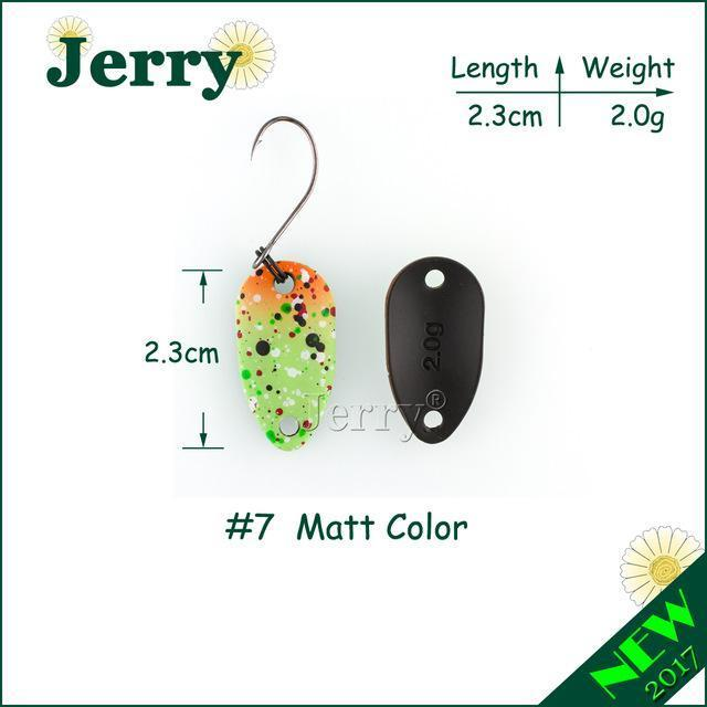 Jerry Pesca Two Side Colors Micro Fishing Spoons Trout Spoon Wobbler Fishing-Jerry Fishing Tackle-2g green orange-Bargain Bait Box
