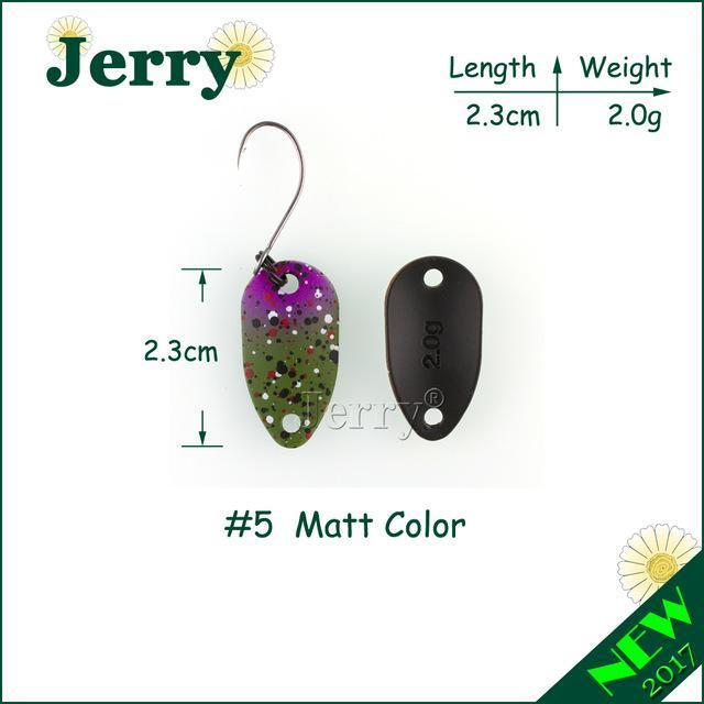 Jerry Pesca Two Side Colors Micro Fishing Spoons Trout Spoon Wobbler Fishing-Jerry Fishing Tackle-2g green purple-Bargain Bait Box