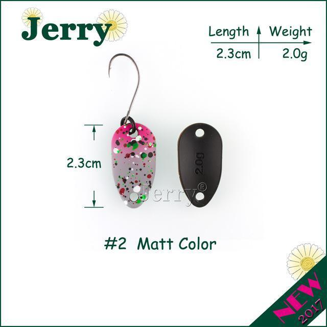 Jerry Pesca Two Side Colors Micro Fishing Spoons Trout Spoon Wobbler Fishing-Jerry Fishing Tackle-2g grey pink-Bargain Bait Box
