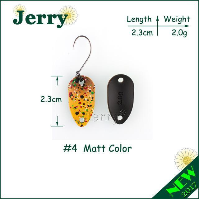 Jerry Pesca Two Side Colors Micro Fishing Spoons Trout Spoon Wobbler Fishing-Jerry Fishing Tackle-2g yellow brown-Bargain Bait Box