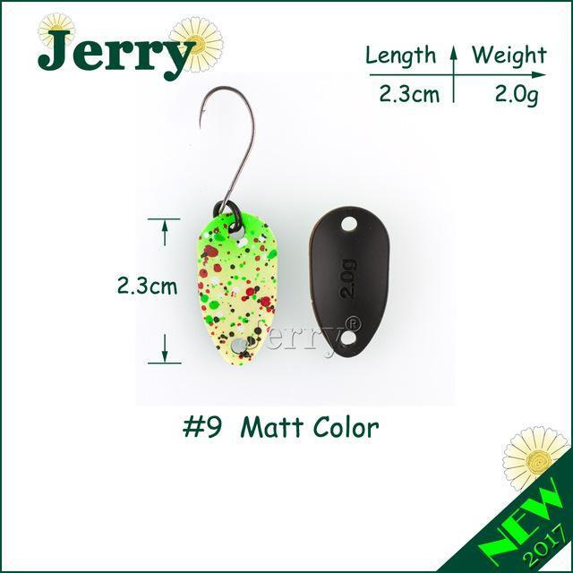 Jerry Pesca Two Side Colors Micro Fishing Spoons Trout Spoon Wobbler Fishing-Jerry Fishing Tackle-2g yellow green-Bargain Bait Box