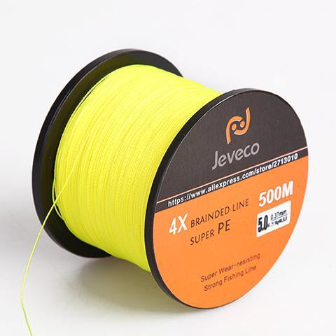 Jeveco 500M Super Pe Braided Multifilament Fishing Line 8Lb 10Lb 20Lb 30Lb-Jeveco Fishing Tackle Store-Yellow-0.4-Bargain Bait Box