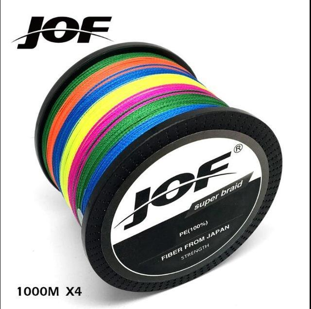 Jof 1000M Multifilament Fishing Line 100% Pe Braided 4 Threads Fly Fishing-liang1 Store-Muliticolor-0.4-Bargain Bait Box