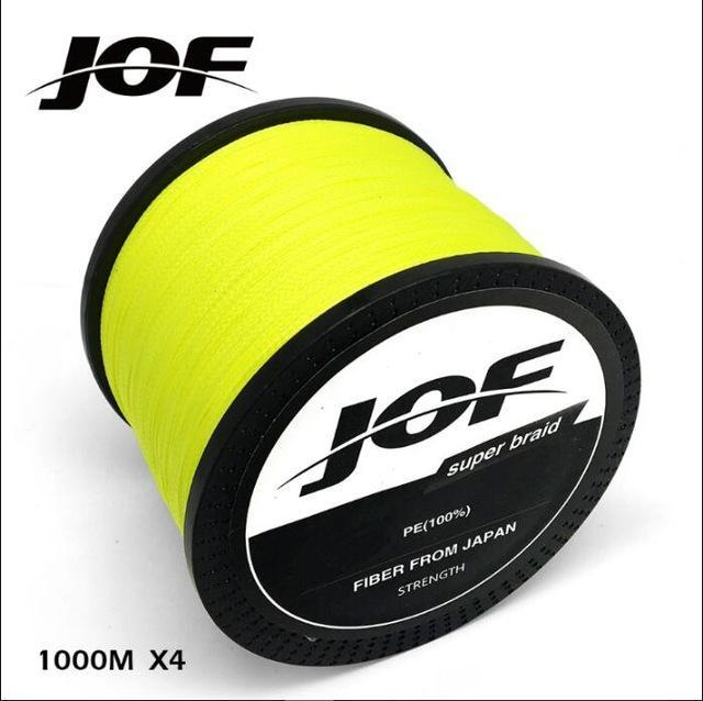 Jof 1000M Multifilament Fishing Line 100% Pe Braided 4 Threads Fly Fishing-liang1 Store-Yellow-0.4-Bargain Bait Box