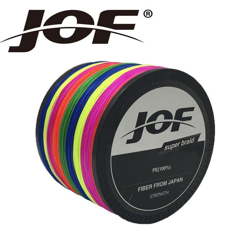 Jof 1000M Multifilament Fishing Line Braided Fishing Line 10-100Lb Braid-duo dian Store-Multi with Red-0.3-Bargain Bait Box