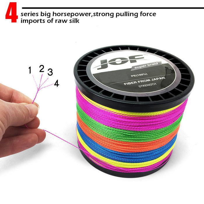 Jof Brand Fishing Line 1000M Pe Multifilament Braided Fish Line 4 Strands-liang1 Store-Grey-0.4-Bargain Bait Box