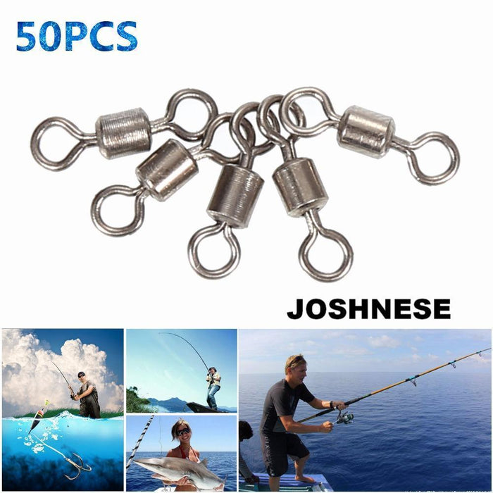 Joshnese Brand 50Pcs High Quality Ball Bearing Rolling Swivel Solid Rings-Outdoor Sporting - Keep Healthy Store-3-Bargain Bait Box