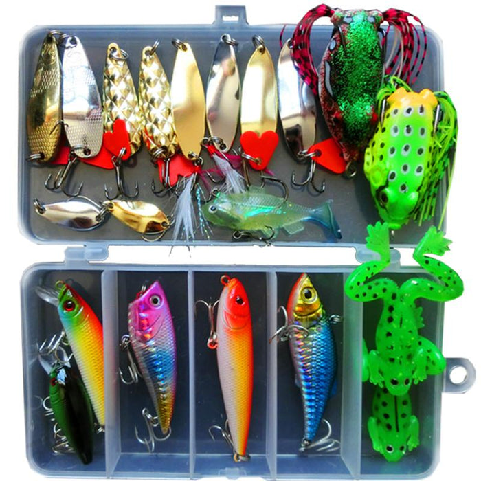 Jsfun 21Pcs/Set Minnow Popper Spoon Baits Frog In Box Fish Lure Set Fu344-Mixed Combos & Kits-Bargain Bait Box-Bargain Bait Box