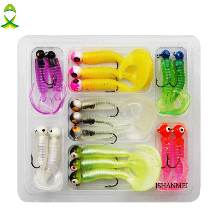 Jsm 17Pcs/Lot Worm Soft Baits Lead Head Jigging Hooks With-Jig Kits-Bargain Bait Box-Bargain Bait Box