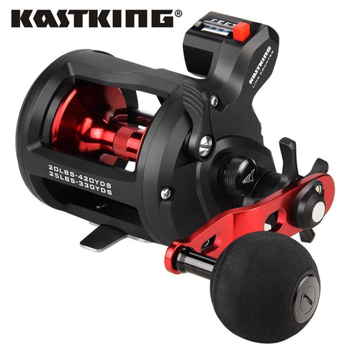 Kastking Rekon Line Counter Trolling Fishing Reel Round Baitcasting Reel 5.1:1-Home-Affordable Fishing Store-Size 10-Left Hand-Bargain Bait Box