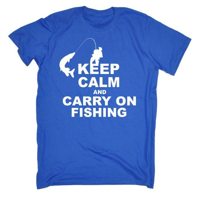 Keep Calm And Carry On Fishinger T-Shirt Top Rod Tee Funny Gift Birthday T Shirt-Shirts-Bargain Bait Box-Blue-S-Bargain Bait Box