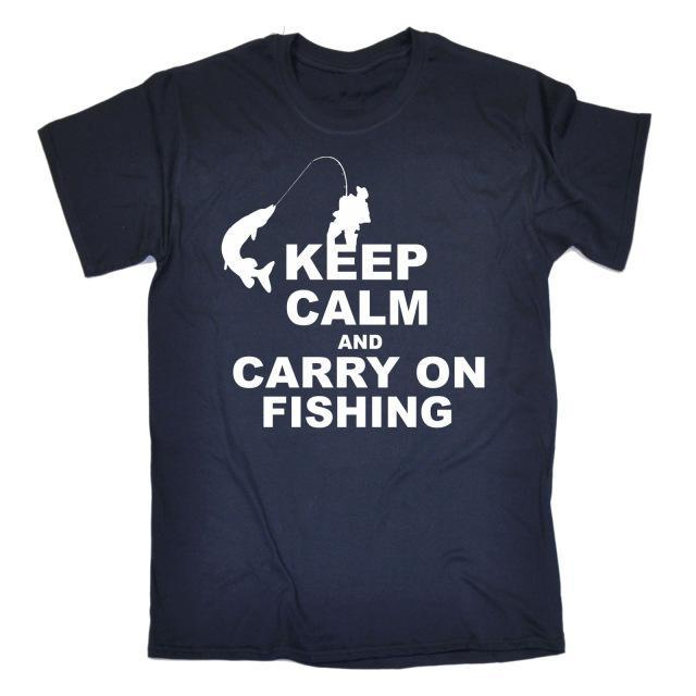 Keep Calm And Carry On Fishinger T-Shirt Top Rod Tee Funny Gift Birthday T Shirt-Shirts-Bargain Bait Box-Navy-S-Bargain Bait Box