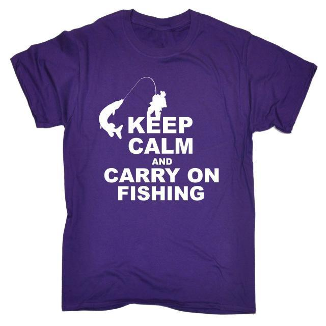 Keep Calm And Carry On Fishinger T-Shirt Top Rod Tee Funny Gift Birthday T Shirt-Shirts-Bargain Bait Box-Purple-S-Bargain Bait Box