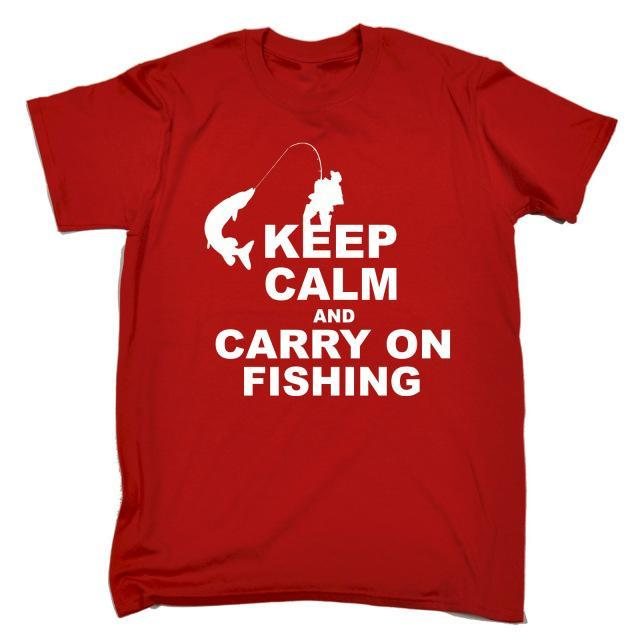 Keep Calm And Carry On Fishinger T-Shirt Top Rod Tee Funny Gift Birthday T Shirt-Shirts-Bargain Bait Box-Red-S-Bargain Bait Box
