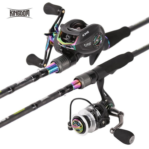 Kingdom King Ii Spinning Rods Combo Casting Fishing Rod Reel Set 2 Pc Top-Fishing Rods-KINGDOM Outdoor Fishing(EU) Store-WHITE-Bargain Bait Box