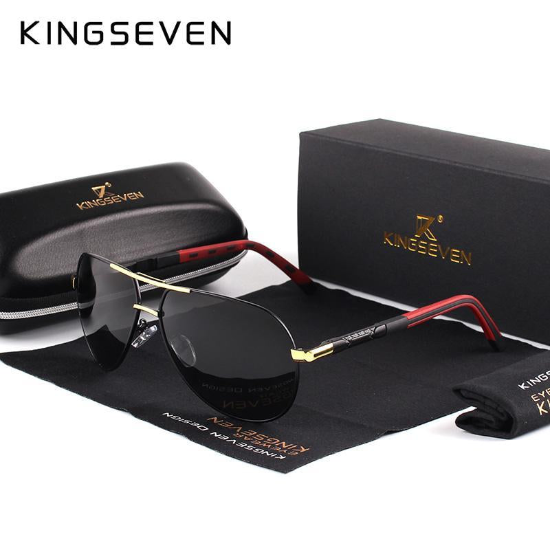Kingseven Men Vintage Aluminum Hd Polarized Sunglasses Classic Sun Glasses-Polarized Sunglasses-Bargain Bait Box-Gold Black-Bargain Bait Box