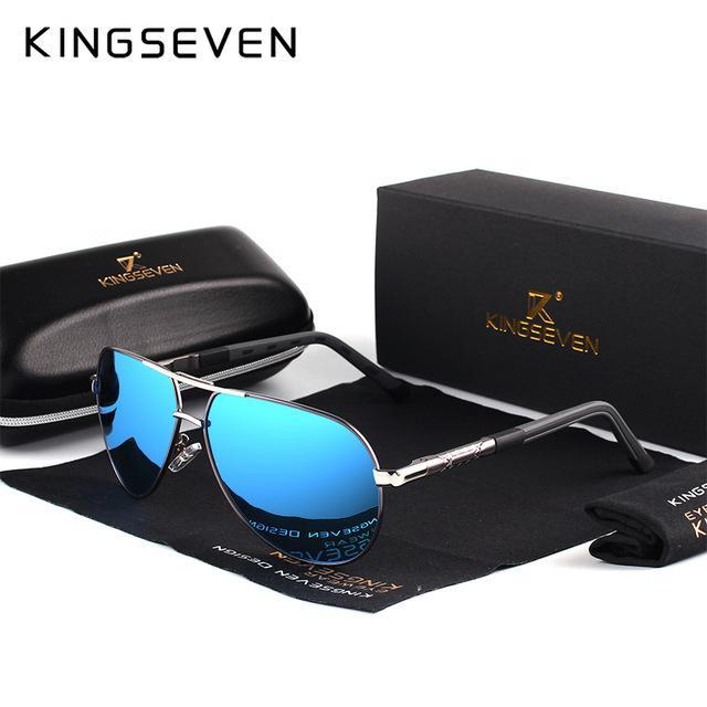 Kingseven Men Vintage Aluminum Hd Polarized Sunglasses Classic Sun Glasses-Polarized Sunglasses-Bargain Bait Box-GrayFrameBlue-Bargain Bait Box